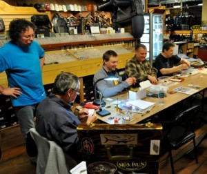 Introduction to fly tying course in action.