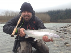 Josh with his first steelhead on the fly, congratulations!