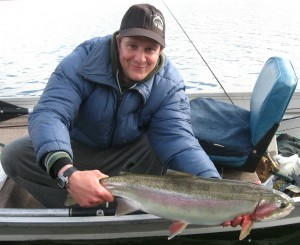 Jason with a nice rainbow trout from a previous season.