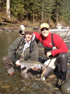 Ryan & client with a coho rafting the Squamish!