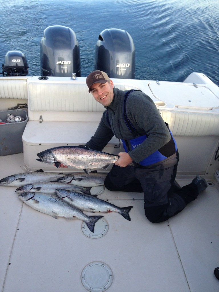 Jason with a nice days catch of prime eating winter chinook!