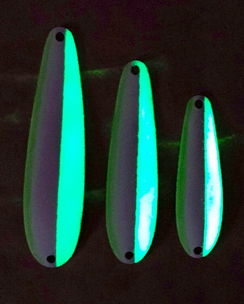 The Pesca Spoons really glow and work great for winter chinook when fishing deep and on the bottom.