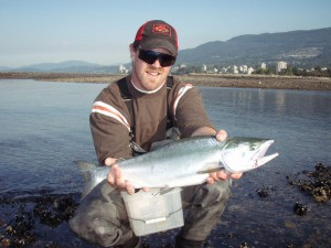 Student Byron with a pink salmon.