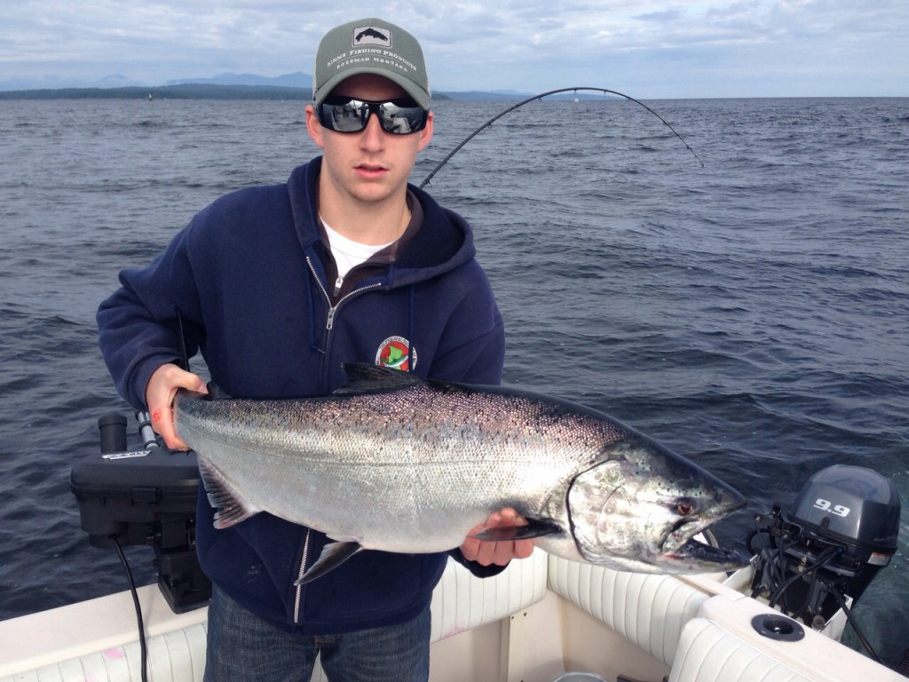 Pacific Angler's Sam with a with a nice chinook from Thrasher Rock last Friday.