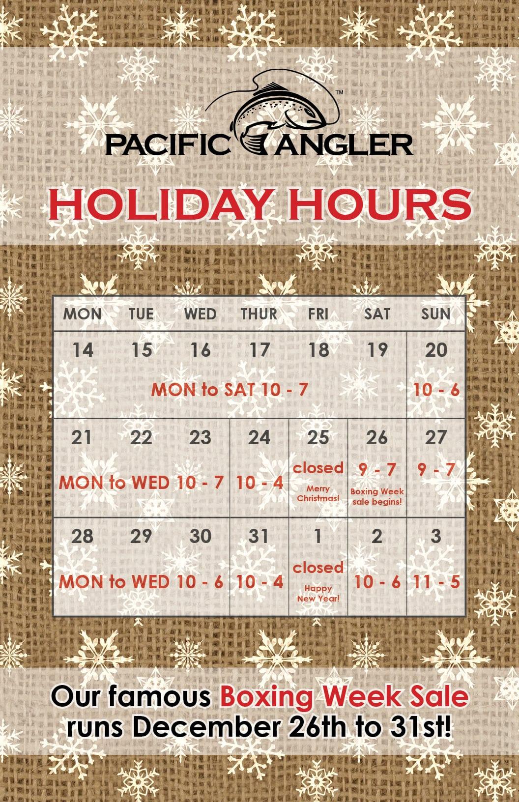 PacAng holiday 2015 - holiday hours
