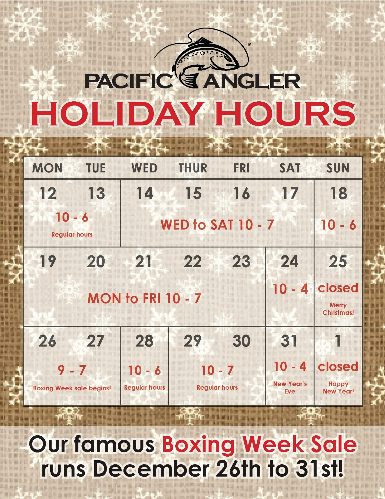 Pacific Angler Holiday Hours 2016