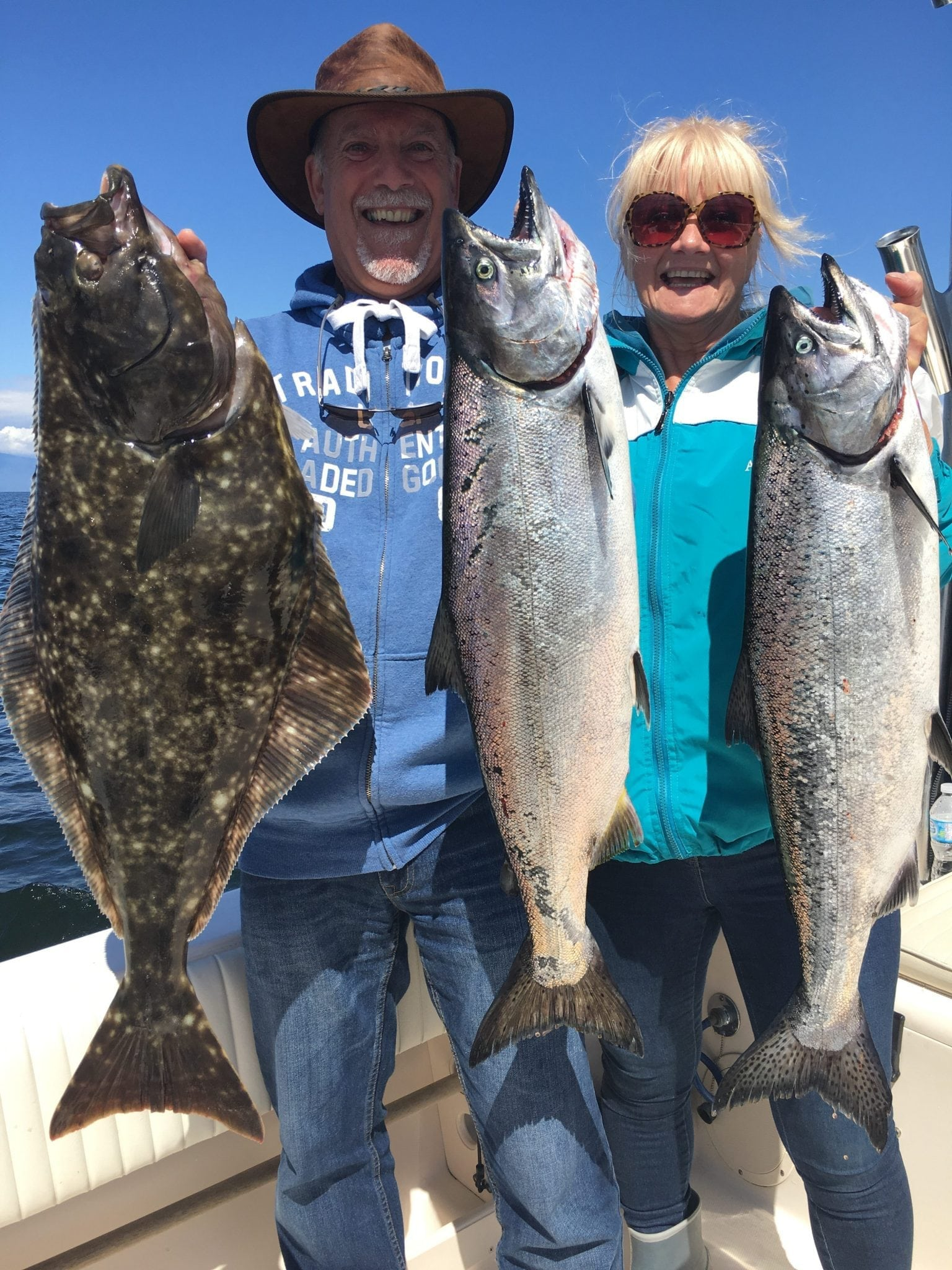 Two salmon caught and a surprise halibut, what a mix